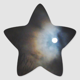 Cielo nocturno espeluznante pegatina en forma de estrella