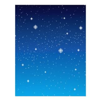 """Cielo nocturno estrellado azul profundo folleto 8.5"""" x 11"""""""