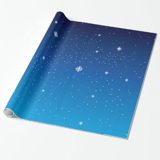 Cielo nocturno estrellado azul profundo papel de regalo