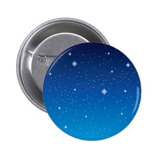 Cielo nocturno estrellado azul profundo pin redondo de 2 pulgadas