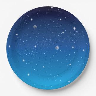 Cielo nocturno estrellado azul profundo plato de papel de 9 pulgadas