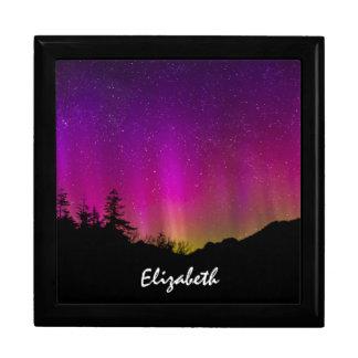 Cielo nocturno estrellado de Borealis de la aurora Joyero Cuadrado Grande