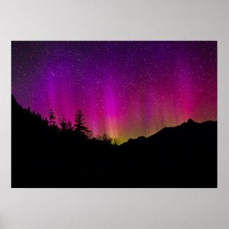 Cielo nocturno estrellado de Borealis de la aurora Póster