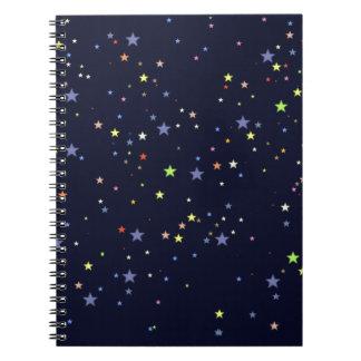 cielo nocturno estrellado libro de apuntes con espiral