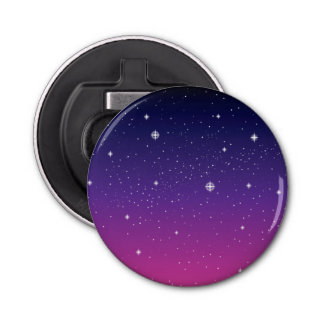 Cielo nocturno estrellado púrpura oscuro abrebotellas redondo