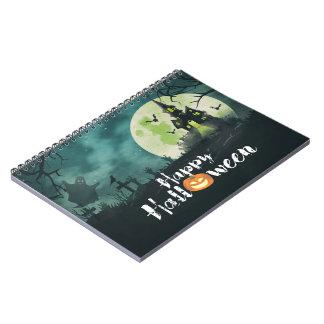 Cielo nocturno fantasmagórico Halloween del traje Libros De Apuntes