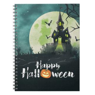 Cielo nocturno fantasmagórico Halloween del traje Libros De Apuntes Con Espiral