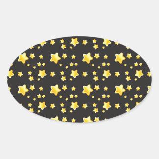 Cielo nocturno oscuro con el modelo de estrellas pegatina ovalada