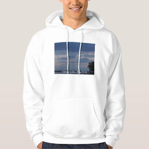 Cielo nublado del lago Cayuga Jersey Encapuchado