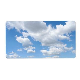 Cielo nublado etiqueta de envío