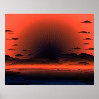Cielo oscuro vivo de la playa del resplandor solar póster