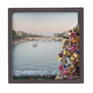 Cielo precioso de la tarde en París con las Cajas De Recuerdo De Calidad