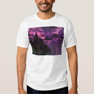 Cielo púrpura con los pájaros 3d camisas