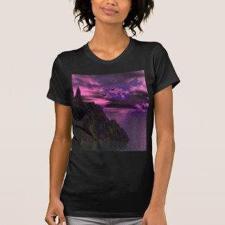 Cielo púrpura con los pájaros 3d playeras