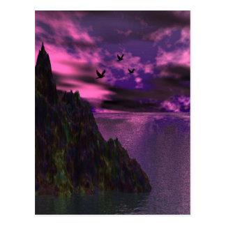 Cielo púrpura con los pájaros 3d postal