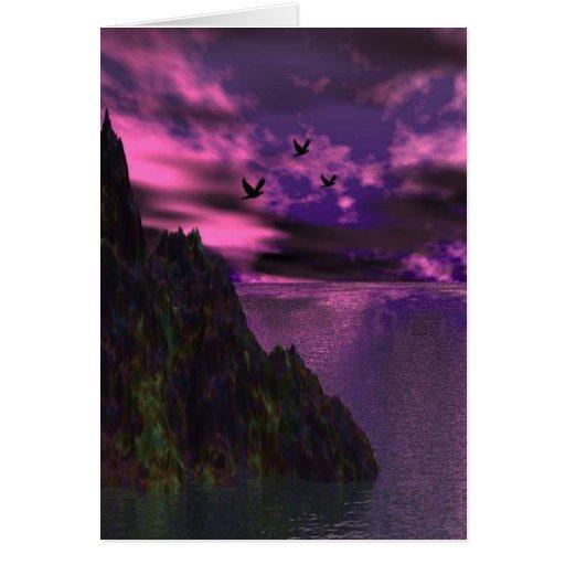 Cielo púrpura con los pájaros 3d tarjeta de felicitación