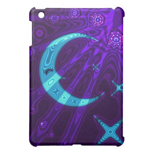 Cielo púrpura y luna azul/caja de la mota de las e