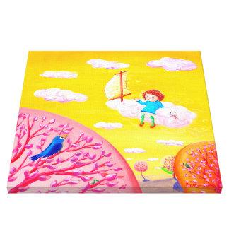 Cielo que navega el sueño del día de la niña del | impresión en lienzo estirada