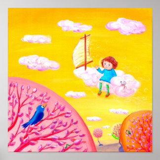 Cielo que navega el sueño del día de la niña del | póster