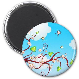 Cielo, ramas de la cereza y arte del vector de las imán de nevera