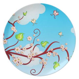 Cielo, ramas de la cereza y arte del vector de las plato de comida