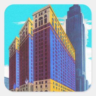 Cielo retro Scarper Nueva York de la arquitectura Pegatina Cuadrada