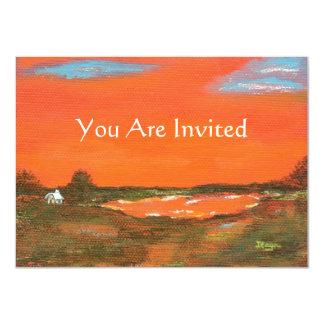 """Cielo rojo en la noche usted es arte original invitación 4.5"""" x 6.25"""""""