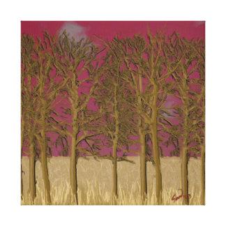 Cielo rojo, impresión estirada árboles secos de la lona estirada galerias