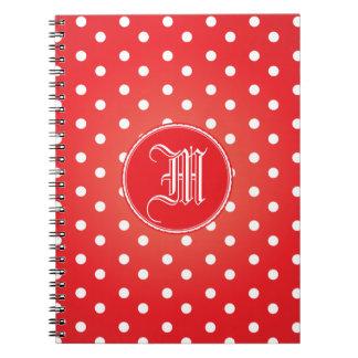 Cielo rojo y blanco de Polkadot Spiral Notebook