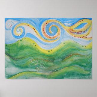 Cielo Rolling Hills de Swirly de la impresión del  Posters