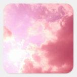 Cielo rosado calcomanías cuadradass personalizadas