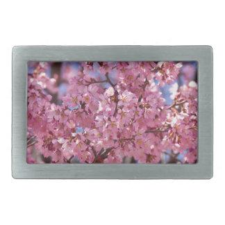 Cielo rosado de la flor de cerezo de Sakura Hebilla Cinturon Rectangular