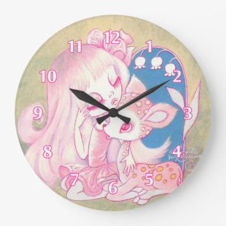 Cielo rosado del cervatillo reloj redondo grande