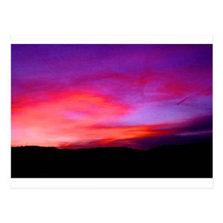 cielo rosado y púrpura tarjetas postales