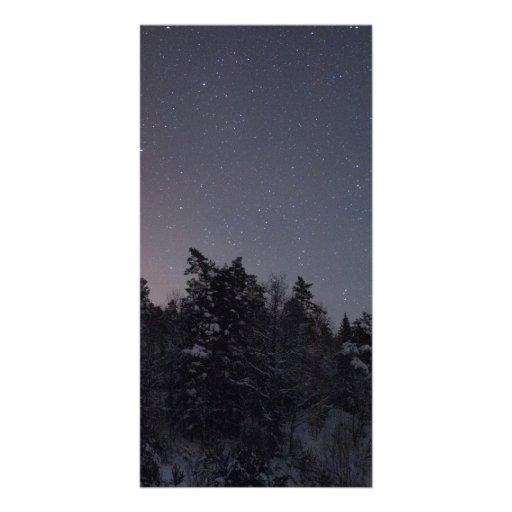 Cielo septentrional estrellado plantilla para tarjeta de foto