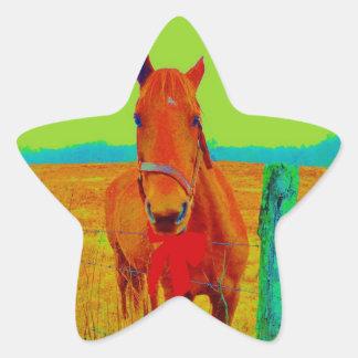 Cielo verde, caballo rojo del arco: añada el pegatina en forma de estrella