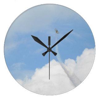 Cielo y aeroplano reloj redondo grande