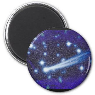 Cielo y asteroide estrellados del espacio imán redondo 5 cm