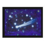 Cielo y asteroide estrellados del espacio postal