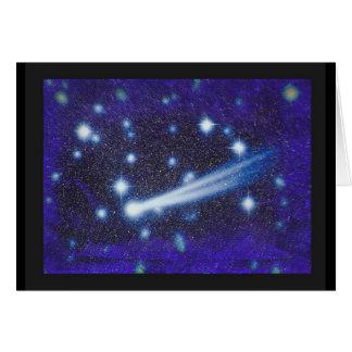 Cielo y asteroide estrellados del espacio tarjeta de felicitación