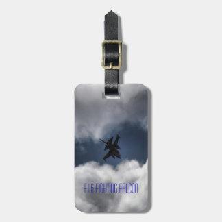 Cielo y nubes del jet del halcón que luchan F-16 Etiquetas Bolsas