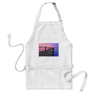 Cielo y paseo marítimo hermosos de la puesta del delantal