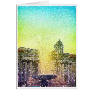 Cielos amarillos azules Nevado de la fuente de Lon Tarjeta De Felicitación