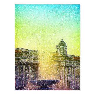 Cielos amarillos azules Nevado de la fuente de Lon Tarjetas Postales