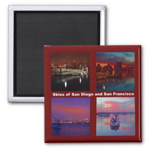 Cielos de San Diego y de San Francisco Imán Cuadrado