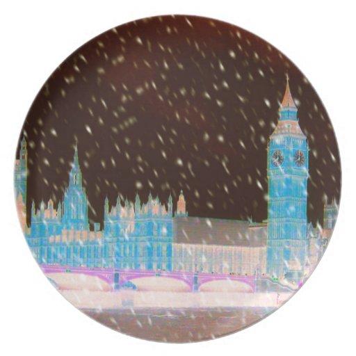 Cielos del rojo de Londres de la abadía de Big Ben Plato Para Fiesta