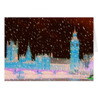Cielos del rojo de Londres de la abadía de Big Ben Tarjeton