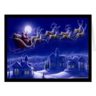 Cielos nocturnos de Santa y del reno Tarjeta De Felicitación Grande