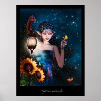 Cielos nocturnos y Butterflys Póster