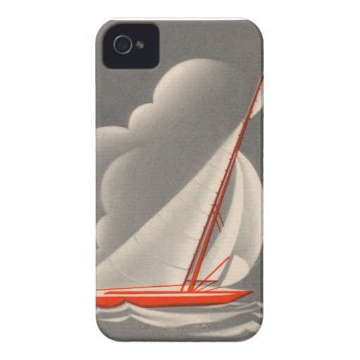 Cielos tempestuosos del velero rojo iPhone 4 Case-Mate cárcasa